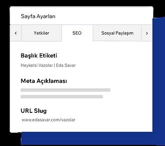 SEO sayfa ayarları, sayfa meta etiketlerini özelleştirme.