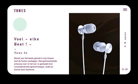 eCommerce website for high-end headphones showcased on tablet.