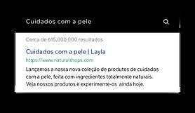Resultados de busca no Google de um site de cosméticos.