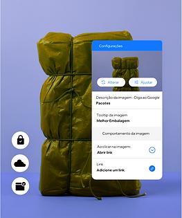 Um site de embalagens monstrando recursos integrados que permitem criar funções e permissões para membros da equipe e alt text para imagens, tornando assim seu conteúdo acessível a todos.