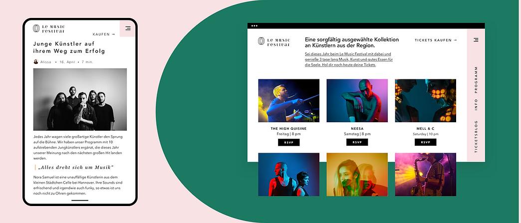 Eine Website, die für ein Musikfestival auf Wix erstellt wurde und Veranstaltungen, eComme