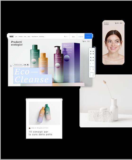 Sito web di un brand di bellezza e cura della pelle che mostra il sito in fase di creazione sull'Editor Wix. Altre componenti includono i post sul blog, la visualizzazione da mobile e una foto di una saponetta e di un vaso di fiori.