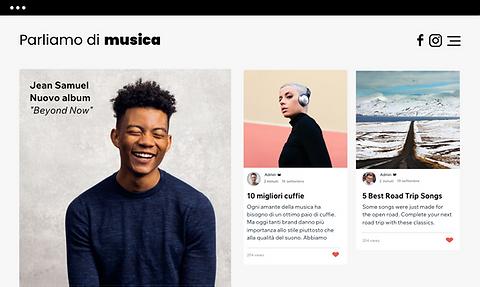 Un sito web di musica che mostra i post