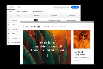 Un sito web di un magazine pubblicato creato utilizzando la tecnologia Velo per la progettazione dei siti web più complessi.
