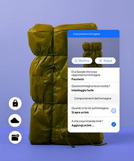 Impostazioni di un'immagine che permettono di creare Ruoli e autorizzazioni per i membri del team e il testo alternativo per le immagini. Per rendere il contenuto del sito accessibile a tutti.