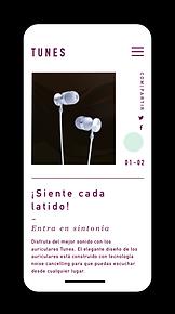 Un sitio web de comercio electrónico para auriculares de alta gama mostrado en el móvil.