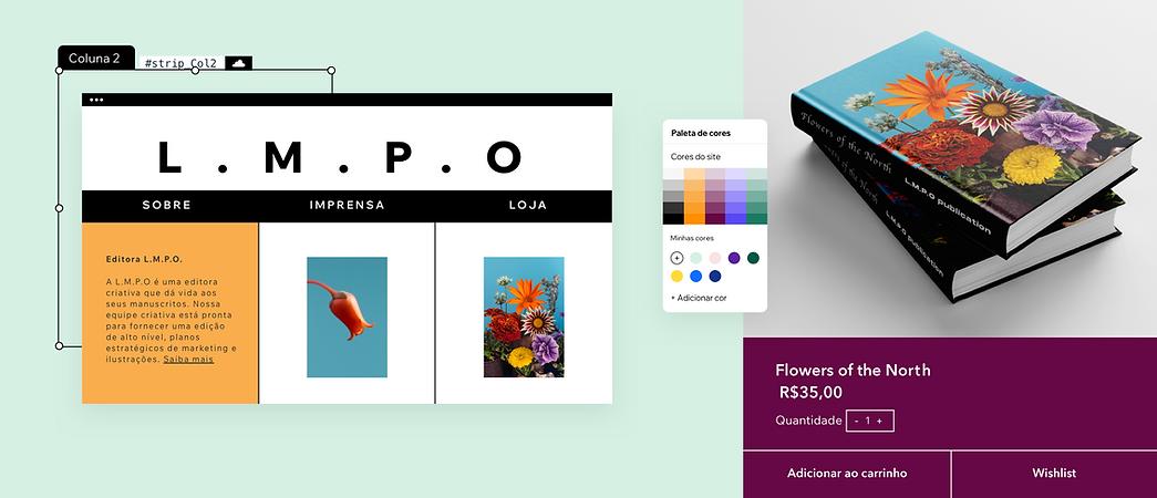 O site de uma editora sendo editado e mostrando recursos como paletas de cores, elementos