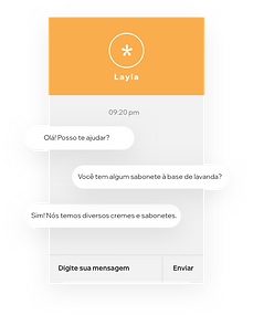 Site de uma marca de beleza que fornece atendimento ao cliente usando o Wix Chat sobre estoque de produtos.