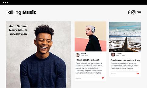 Strona z muzyką prezentująca posty na bl