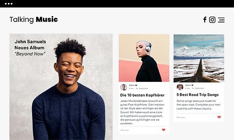 """"""" Eine Musikwebsite mit Blogposts und ne"""