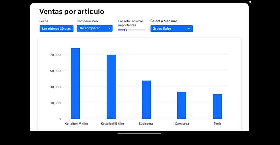 Un informe de ventas por artículo en Wix