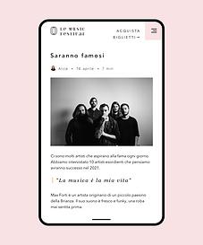 Un sito web creato per un festival musicale che mostra il blog del festival.