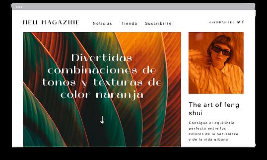 Un sitio web de una revista publicada creada con tecnología Velo para páginas web más complejas.