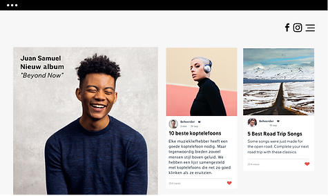 Een muziekwebsite met blogposts en nieuw