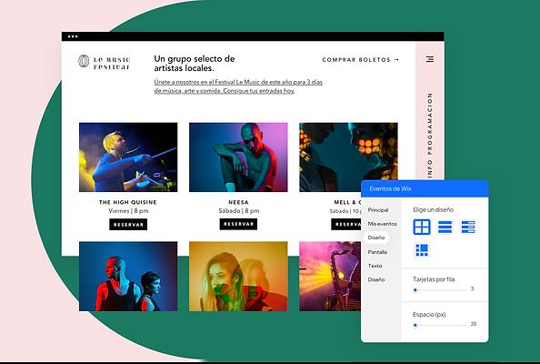 Un sitio web creado para un festival de música en Wix que muestra eventos, comercio electrónico, funciones para telefonía móvil y blogs.
