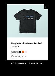 Negozio di ecommerce che vende merchandising del festival musicale.
