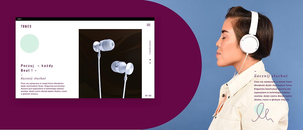 Witryna eCommerce z wysokiej klasy słuchawkami prezentowanymi na komputerze.