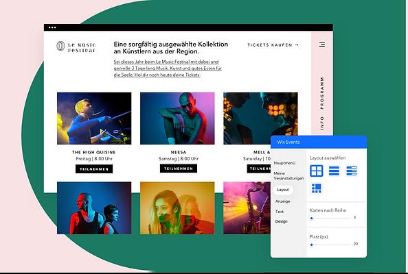 Eine Website, die für ein Musikfestival auf Wix erstellt wurde und Veranstaltungen, eCommerce, Mobilgeräte und Blogfunktionen zeigt.