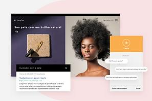 A página inicial do site de uma marca de beleza exibindo seus produtos.