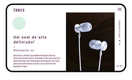 Site de eCommerce para fones de ouvido de qualidade sendo exibido em um tablet.