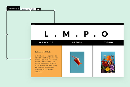 Un sitio web de ediciones de libros y presentación de funciones de diseño como la paleta de colores, el contenido visual y más.