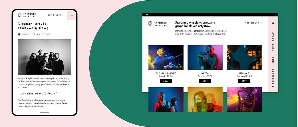 Strona internetowa Wix stworzona na potrzeby festiwalu muzycznego, prezentująca wydarzenia