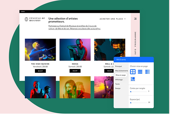 Site web pour un festival de musique, créé sur Wix et affichant les fonctionnalités événem