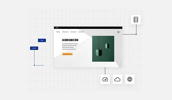 Sitio web de diseño de iluminación interior.