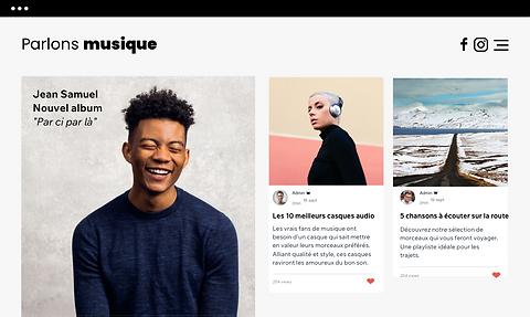 Un site de musique qui affiche des posts