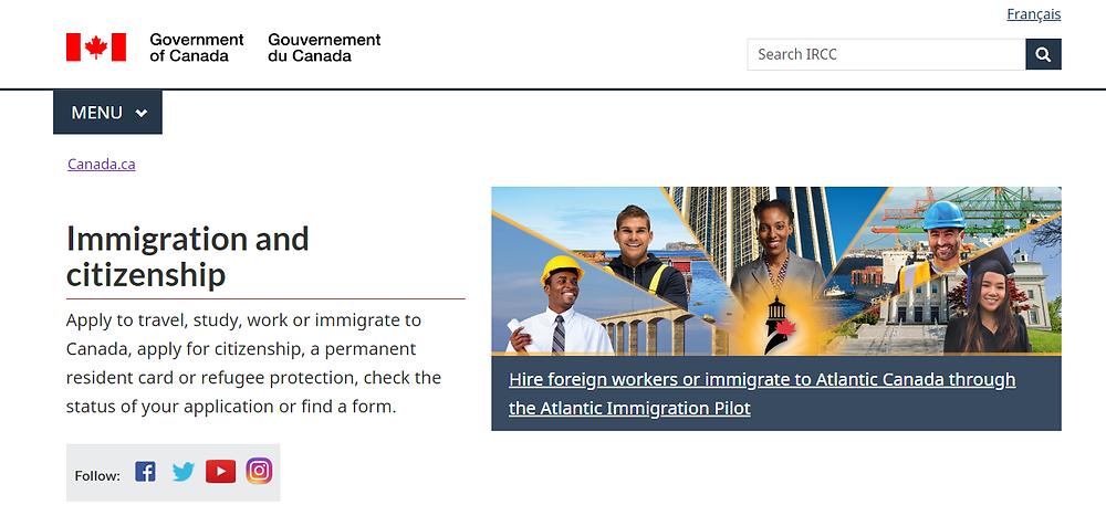 Site do Governo Canadense - Imigração