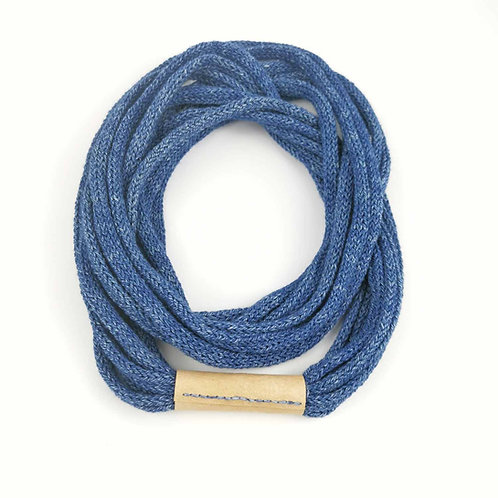 Million Stitch Necklace in denim+leather