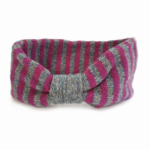 Ear Cosy in pink and grey stripes