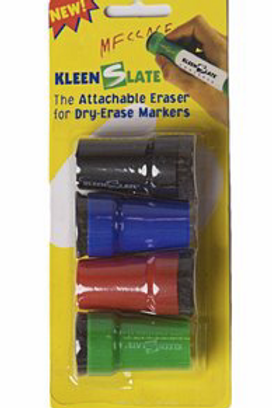 4-pack Kleeslate erasers (black/red/blue/green)