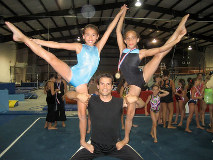 Stephan Choiniere with workshop students in Texas Sports Ranch Gymnastics Camp
