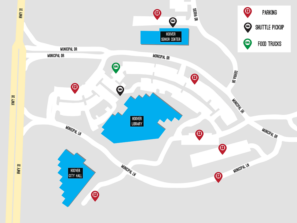 Scifi/Fantasy Fest parking, shuttle, and food truck map