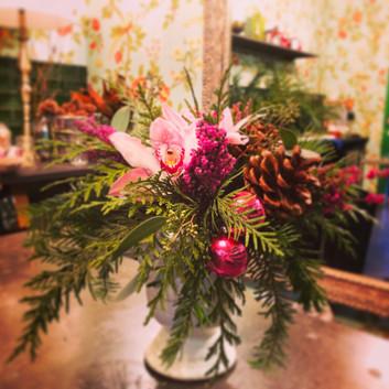 Pink Christmas Flower Arrangement