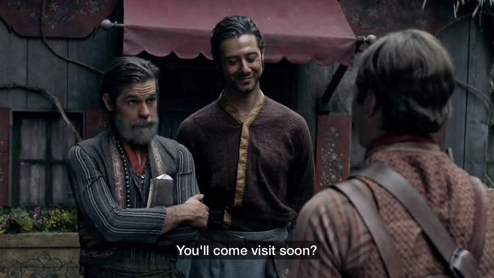 Quentin and Eliot from The Magicians telling their son to visit.