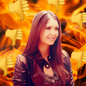 An image of Elena Gilbert surrounded by thumbs down emojis.