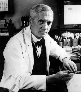 Alexander Fleming at the workbench
