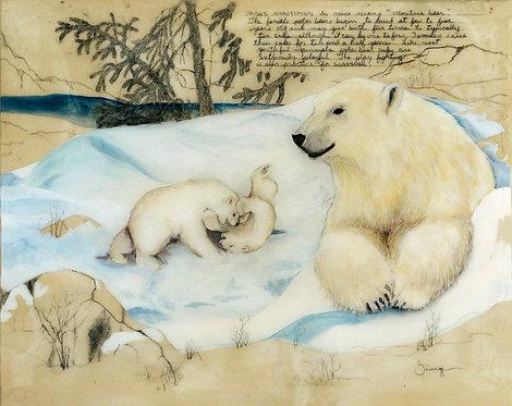 Polar Bear w/Cubs Fresco