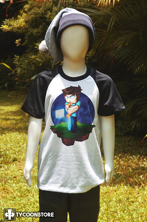 Camiseta Infantil Manga Preta - Herobrine (Minecraft)