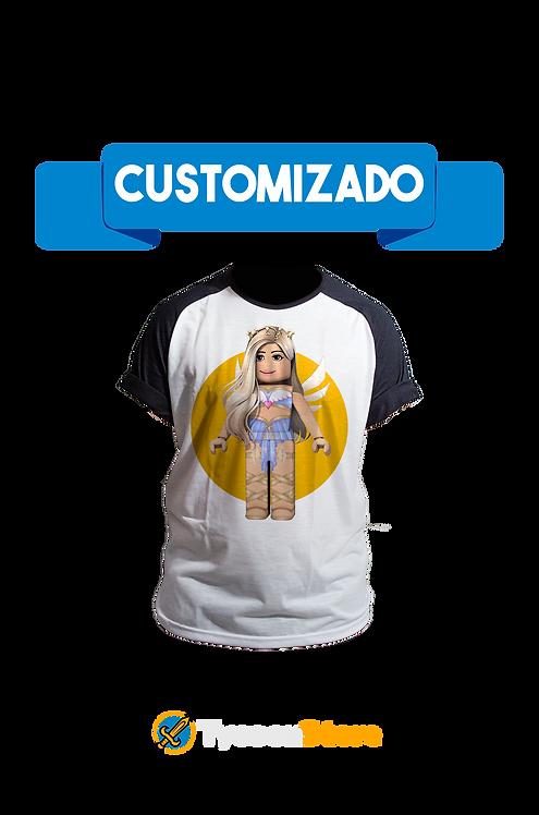 Camiseta Manga Preta - Roblox Personagem Personalizado