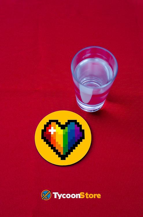 Porta Copos - Coração Pixel LGBT