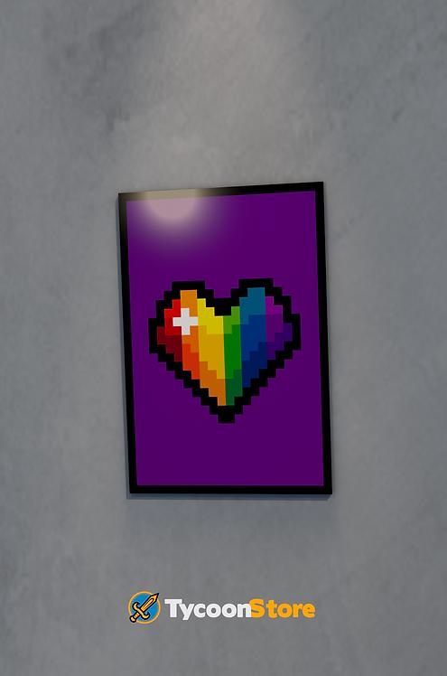Placa Decorativa - Pixel Coração LGBT
