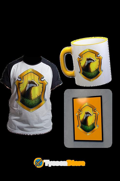 KIT - Bruxo Lufa-Lufa Hufflepuff (Camiseta, Caneca, Quadro)