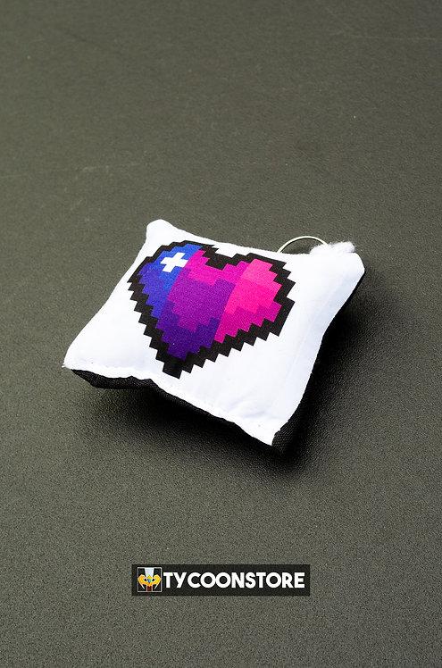 Chaveiro Almofadinha - Coração Pixel Bissexual LGBT