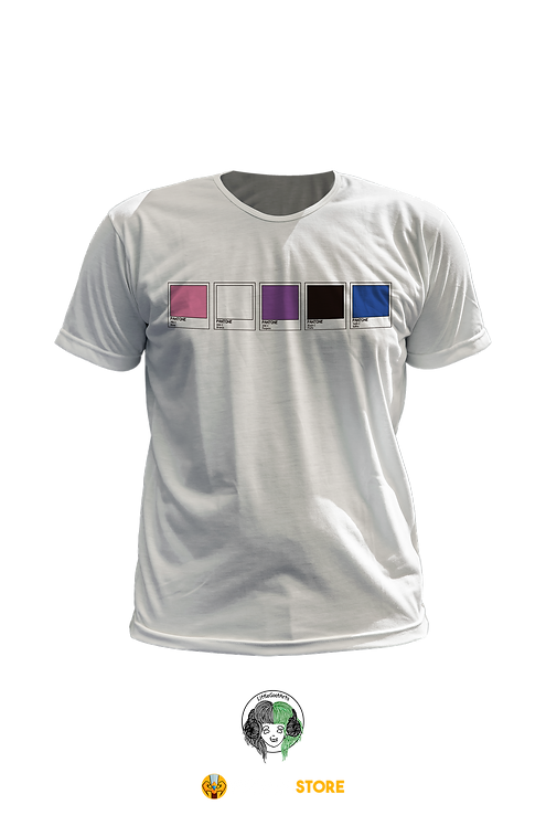 Camiseta Branca - Bandeira Gênero Fluido Pantone