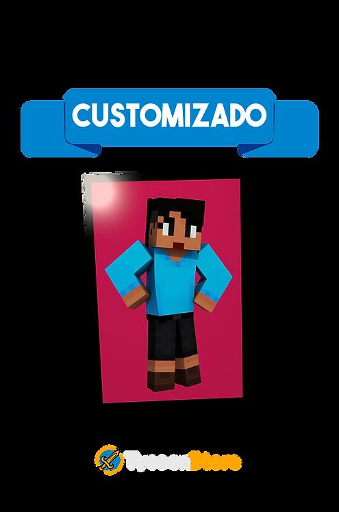 Placa Decorativa - Sua Skin de Minecraft 3D Personalizado