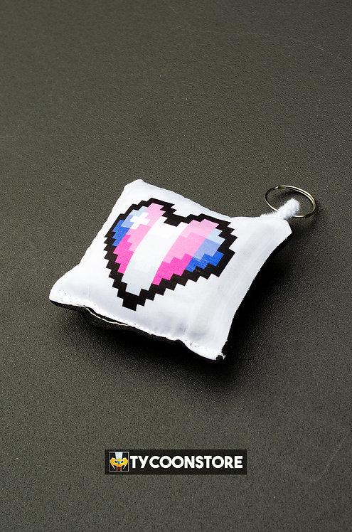 Chaveiro Almofadinha - Coração Pixel Transsexual LGBT