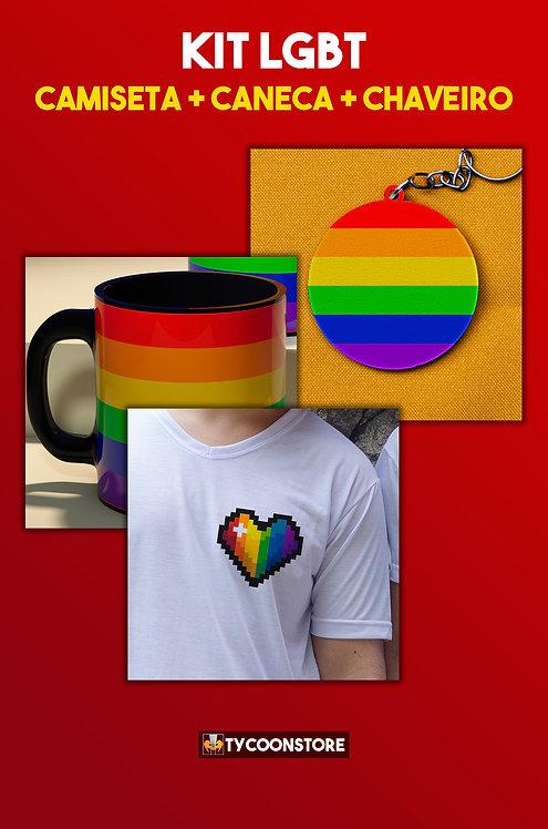 KIT - LGBT! Camiseta + Caneca + Chaveiro